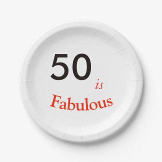 Plato De Papel 50.o Placa de papel de la fiesta de cumpleaños