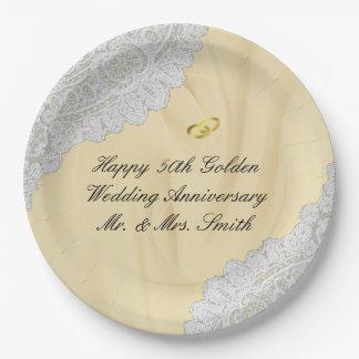 Plato De Papel 50.o Satén del aniversario de boda de oro