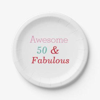 Plato De Papel 50 y placas fabulosas de la fiesta de cumpleaños