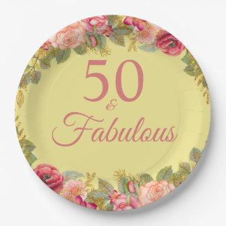 Plato De Papel 50 y rosas rosados fabulosos con tactos del oro