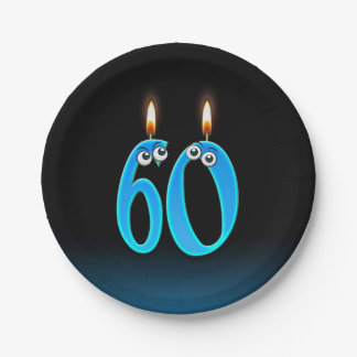 Plato De Papel 60.o Cumpleaños con números encendidos de la vela