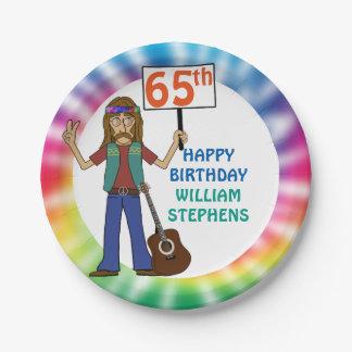 Plato De Papel 65.a fiesta de cumpleaños del viejo del Hippie