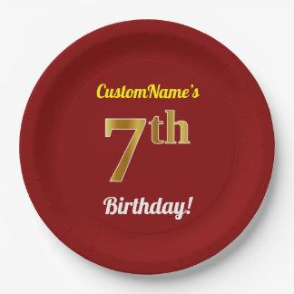 Plato De Papel 7mo cumpleaños del oro rojo, falso + Nombre de