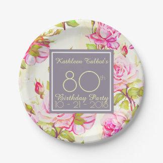 Plato De Papel 80.a placa de papel de la fiesta de cumpleaños de
