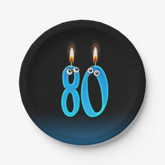 Plato De Papel 80.o Cumpleaños con números encendidos de la vela
