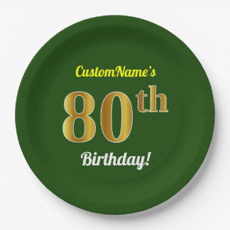Plato De Papel 80.o cumpleaños del oro verde, falso + Nombre de