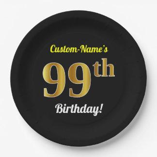 Plato De Papel 99.o cumpleaños del oro negro, falso + Nombre de