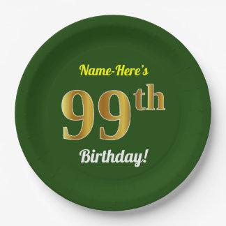 Plato De Papel 99.o cumpleaños del oro verde, falso + Nombre de