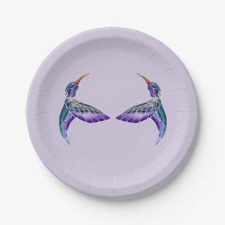Plato De Papel Acuarela abstracta del colibrí