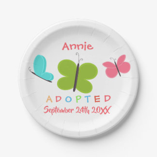 Plato De Papel Adopción adoptada de la mariposa - nombre de