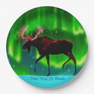 Plato De Papel Alces de la aurora boreal