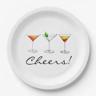 Plato De Papel ¡Alegrías! Placas de Martini Cosmo Manhattan de