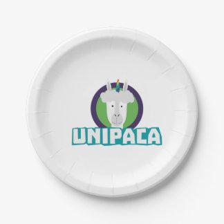 Plato De Papel Alpaca Z67aj del unicornio de Unipaca