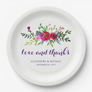 Plato De Papel Amor floral vibrante y gracias del boda de la