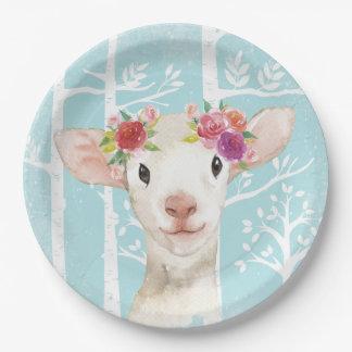 Plato De Papel Animal feliz con las flores en Bosque-Ovejas