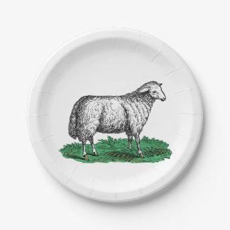 Plato De Papel Animales del campo de la oveja de las ovejas del