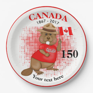Plato De Papel Aniversario orgulloso canadiense del castor 150