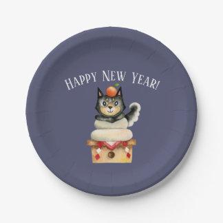 Plato De Papel Año Nuevo de Mochi Shiba