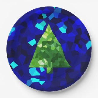 Plato De Papel Árbol de navidad moderno azul del día de fiesta