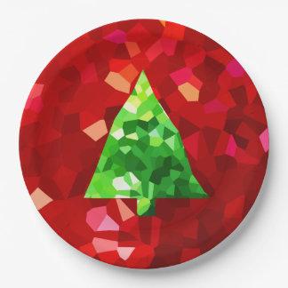 Plato De Papel Árbol de navidad moderno rojo del día de fiesta