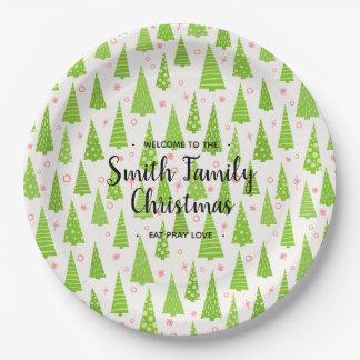 Plato De Papel Árbol de navidad, su familia nombrada Christmas