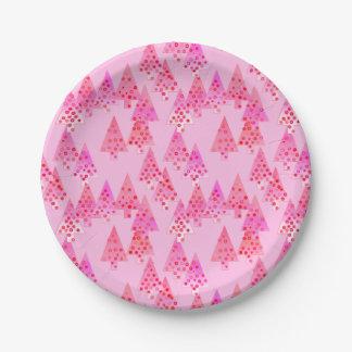 Plato De Papel Árboles de navidad modernos de la flor - rosa en