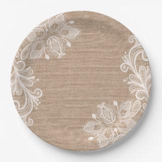 Plato De Papel Arpillera natural y placa de papel floral del