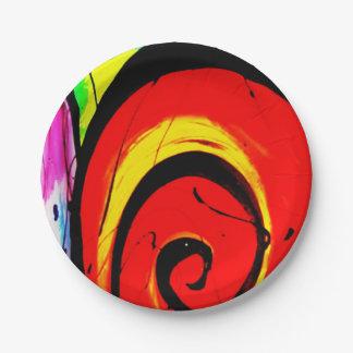 Plato De Papel Arte abstracto del remolino rojo