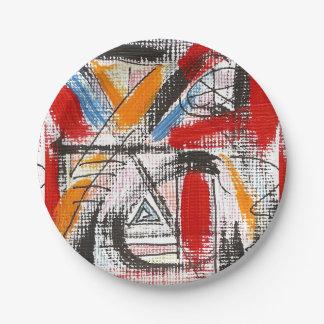 Plato De Papel Arte abstracto pintado tercera Ojo-Mano
