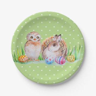 Plato De Papel Arte de Pascua del búho y del conejito