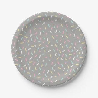 Plato De Papel Asperje la placa del fiesta (gris)