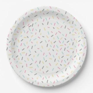 Plato De Papel Asperje las placas del fiesta (blancas)