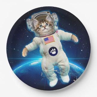 Plato De Papel Astronauta del gato - gato del espacio - amante