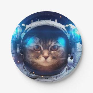 Plato De Papel Astronauta del gato - gatos en espacio - espacio