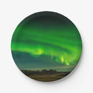Plato De Papel Aurora boreal verde hermosa de Islandia