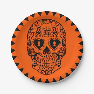 Plato De Papel Azucare el cráneo, día de las placas muertas