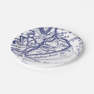 Plato De Papel Azules marinos del mapa del vintage del SC de