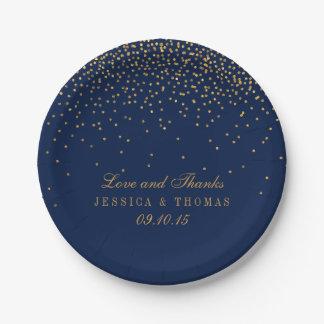 Plato De Papel Azules marinos y boda atractivo del confeti del