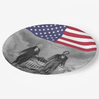 Plato De Papel Bandera americana de George Washington Abraham