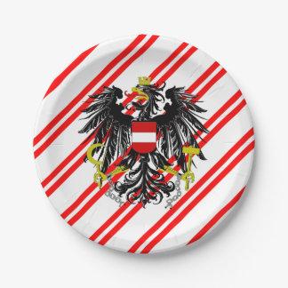 Plato De Papel Bandera austríaca de las rayas