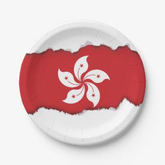 Plato De Papel Bandera de Hong Kong