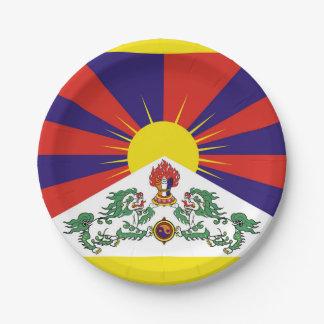 Plato De Papel Bandera de la bandera del león de Tíbet o de la