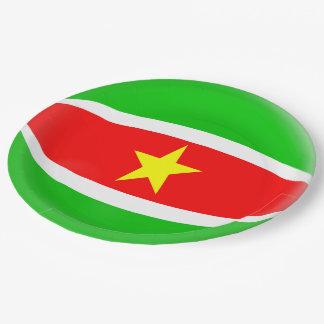 Plato De Papel Bandera de Suriname