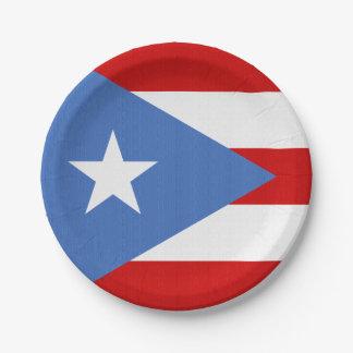 Plato De Papel Bandera del tema de Puerto Rico