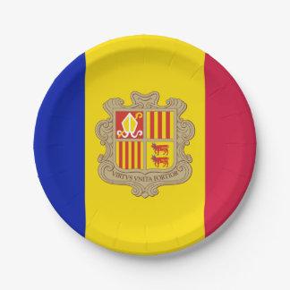 Plato De Papel Bandera patriótica de Andorra