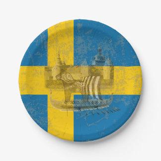 Plato De Papel Bandera y símbolos de Suecia ID159