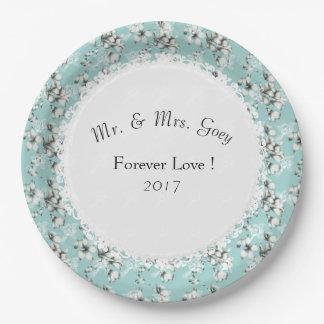 Plato De Papel Banquete de boda--Anniversary-Template_Blue-Floral
