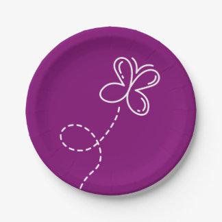 Plato De Papel Banquete de boda púrpura y blanco de la mariposa