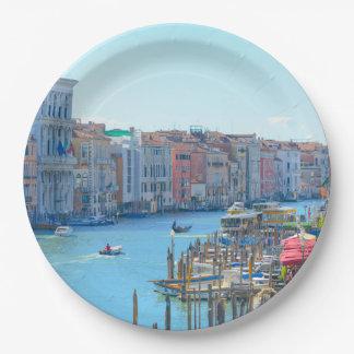 Plato De Papel Barcos en los canales de Venecia Italia