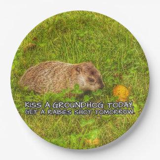 Plato De Papel Bese un groundhog hoy. Consiga las placas de un